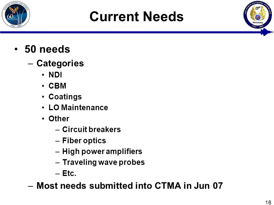 16 Current Needs 50 needs –Categories NDI CBM Coatings LO Maintenance Other –Circuit breakers –Fiber optics –High power amplifiers –Traveling wave probes –Etc.