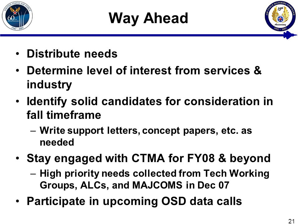 21 Way Ahead Distribute needs Determine level of interest from services & industry Identify solid candidates for consideration in fall timeframe –Write support letters, concept papers, etc.