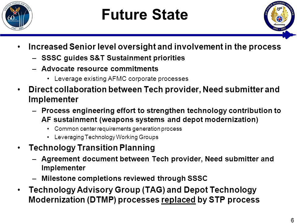 6 Future State Increased Senior level oversight and involvement in the process –SSSC guides S&T Sustainment priorities –Advocate resource commitments Leverage existing AFMC corporate processes Direct collaboration between Tech provider, Need submitter and Implementer –Process engineering effort to strengthen technology contribution to AF sustainment (weapons systems and depot modernization) Common center requirements generation process Leveraging Technology Working Groups Technology Transition Planning –Agreement document between Tech provider, Need submitter and Implementer –Milestone completions reviewed through SSSC Technology Advisory Group (TAG) and Depot Technology Modernization (DTMP) processes replaced by STP process