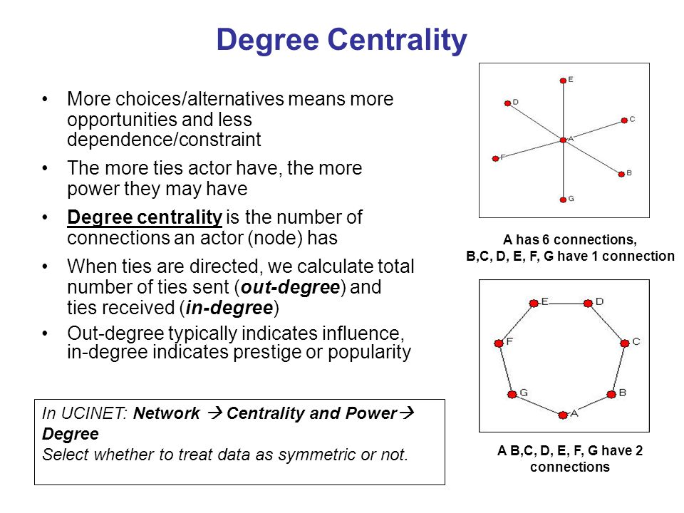 Degree Centrality More choices/alternatives means more opportunities and less dependence/constraint The more ties actor have, the more power they may have Degree centrality is the number of connections an actor (node) has When ties are directed, we calculate total number of ties sent (out-degree) and ties received (in-degree) Out-degree typically indicates influence, in-degree indicates prestige or popularity In UCINET: Network  Centrality and Power  Degree Select whether to treat data as symmetric or not.