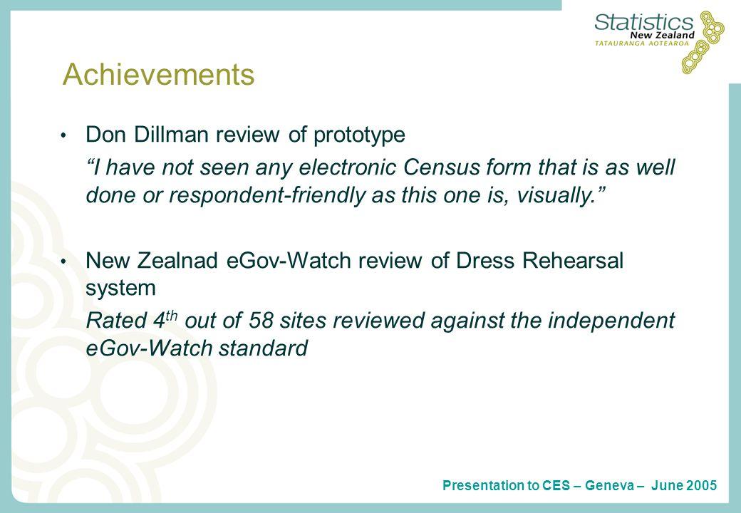 Presentation to CES – Geneva – June 2005 Questions?