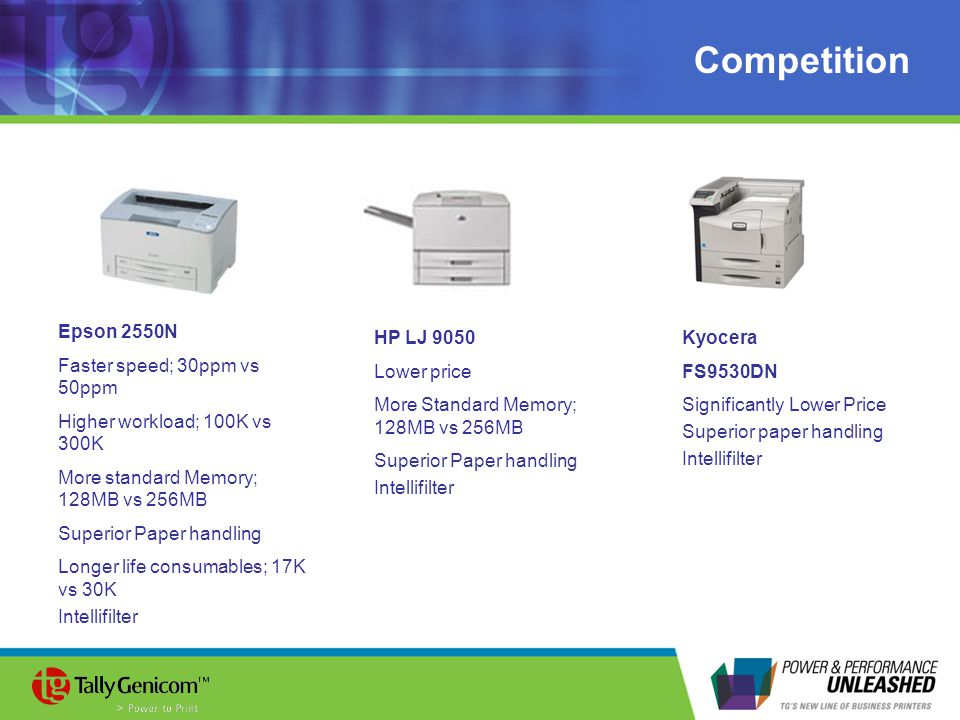 Competition Epson 2550N Faster speed; 30ppm vs 50ppm Higher workload; 100K vs 300K More standard Memory; 128MB vs 256MB Superior Paper handling Longer life consumables; 17K vs 30K Intellifilter HP LJ 9050 Lower price More Standard Memory; 128MB vs 256MB Superior Paper handling Intellifilter Kyocera FS9530DN Significantly Lower Price Superior paper handling Intellifilter