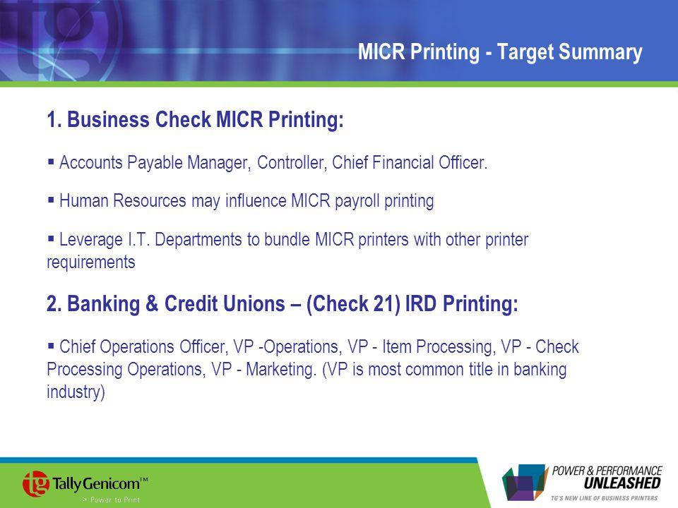MICR Printing - Target Summary 1.