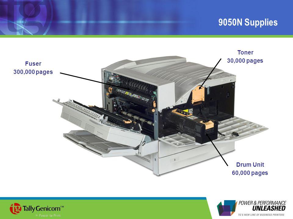 9050N Supplies Toner 30,000 pages Fuser 300,000 pages Drum Unit 60,000 pages