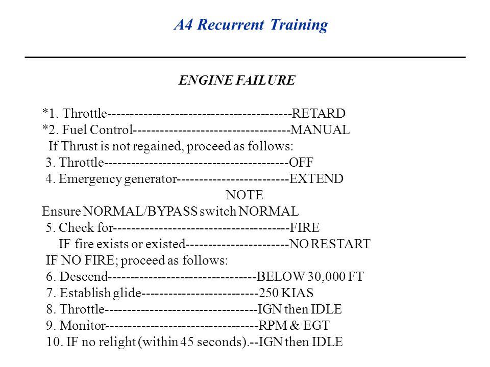 A4 Recurrent Training ENGINE FAILURE *1. Throttle-----------------------------------------RETARD *2. Fuel Control-----------------------------------MA