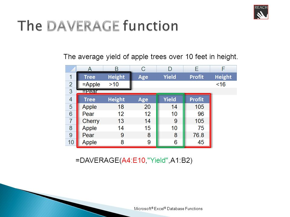 Microsoft ® Excel ® Database Functions =DAVERAGE(A4:E10, Yield ,A1:B2) The average yield of apple trees over 10 feet in height.