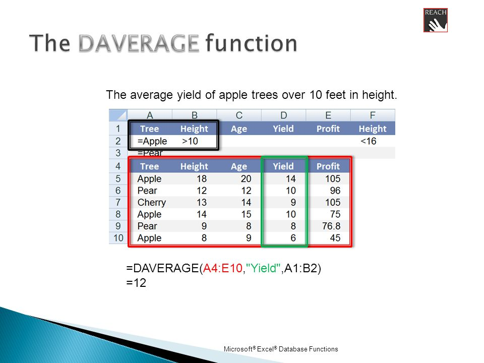 Microsoft ® Excel ® Database Functions =DAVERAGE(A4:E10, Yield ,A1:B2) =12 The average yield of apple trees over 10 feet in height.