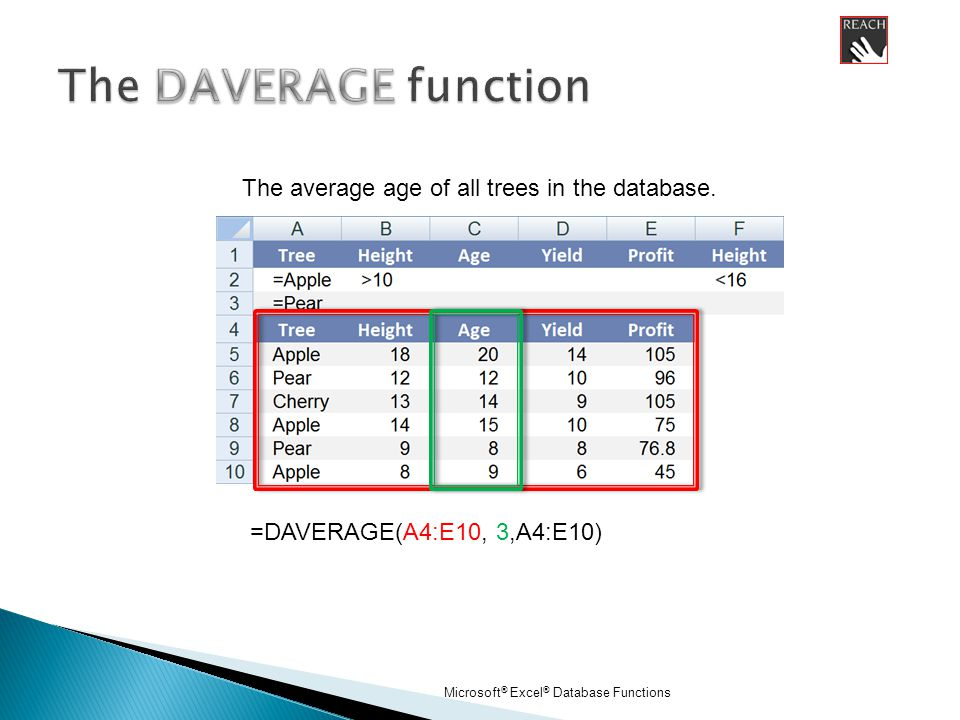 Microsoft ® Excel ® Database Functions =DAVERAGE(A4:E10, 3,A4:E10) The average age of all trees in the database.