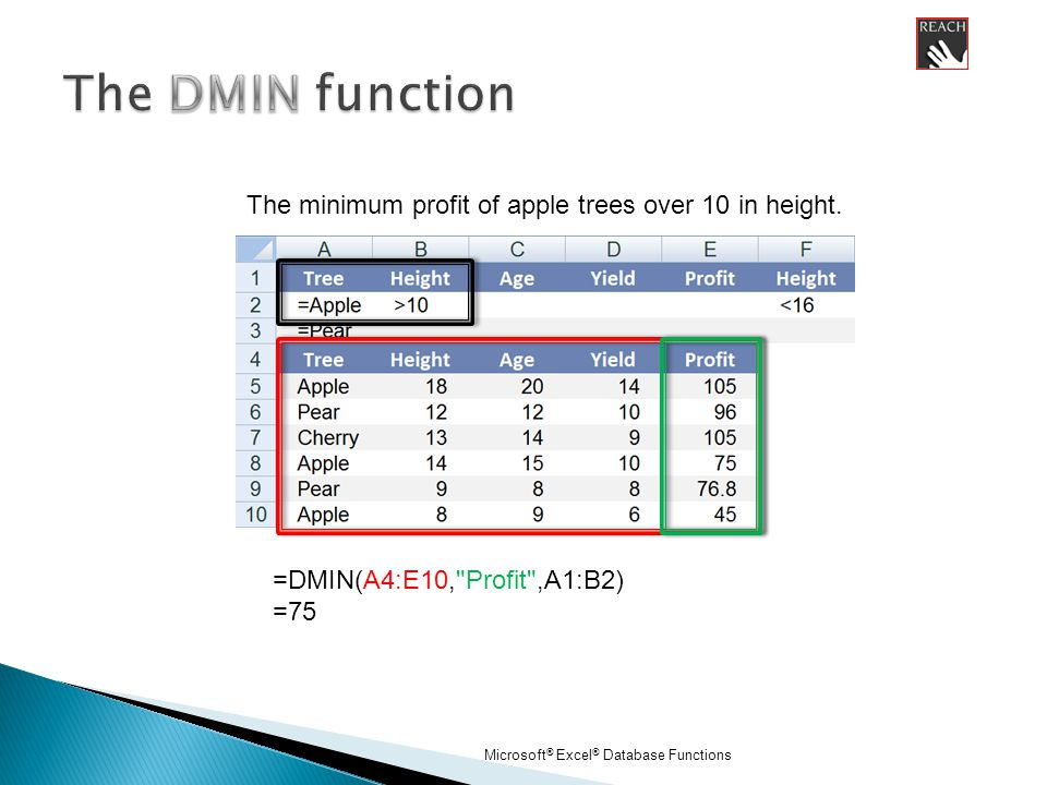 Microsoft ® Excel ® Database Functions =DMIN(A4:E10, Profit ,A1:B2) =75 The minimum profit of apple trees over 10 in height.