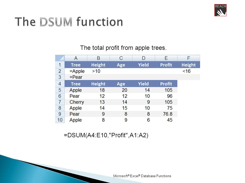 Microsoft ® Excel ® Database Functions =DSUM(A4:E10, Profit ,A1:A2) The total profit from apple trees.