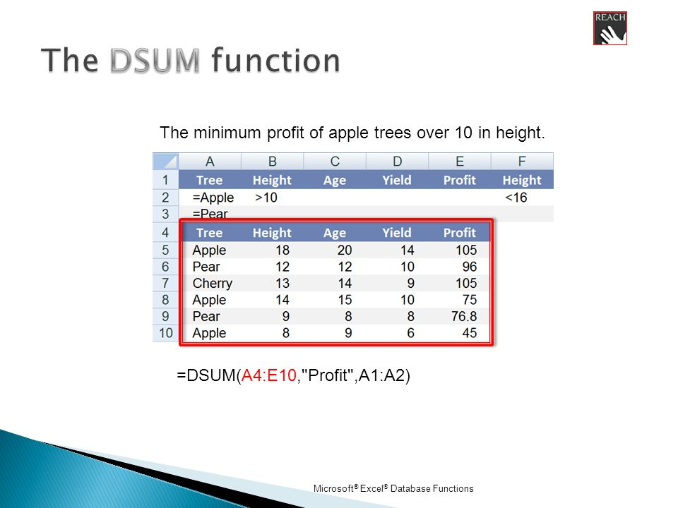 Microsoft ® Excel ® Database Functions =DSUM(A4:E10, Profit ,A1:A2) The minimum profit of apple trees over 10 in height.