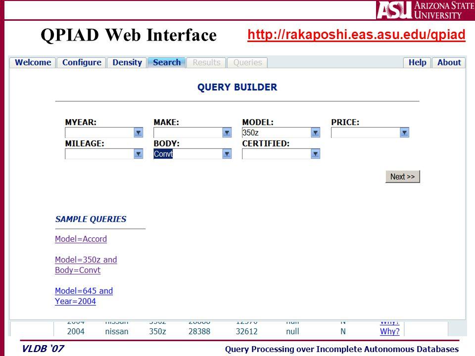 VLDB '07 Query Processing over Incomplete Autonomous Databases QPIAD Web Interface http://rakaposhi.eas.asu.edu/qpiad