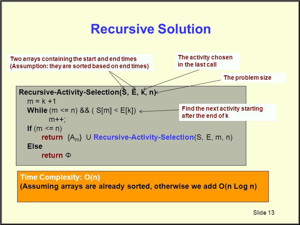 Recursive Solution Slide 13 Recursive-Activity-Selection(S, E, k, n) m = k +1 While (m <= n) && ( S[m] < E[k]) m++; If (m <= n) return {A m } U Recurs