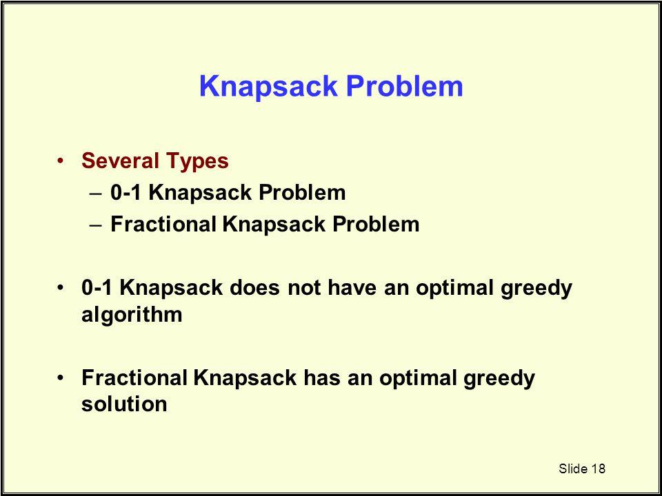 Knapsack Problem Several Types –0-1 Knapsack Problem –Fractional Knapsack Problem 0-1 Knapsack does not have an optimal greedy algorithm Fractional Kn