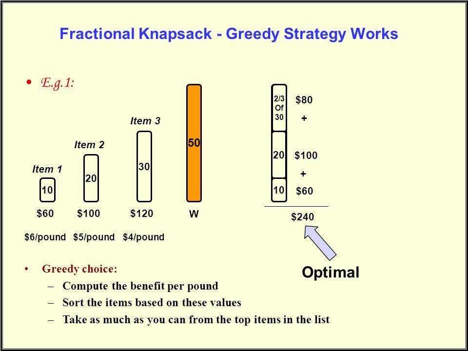 50 Fractional Knapsack - Greedy Strategy Works E.g.1: 10 20 30 50 Item 1 Item 2 Item 3 $60$100$120 10 20 $60 $100 + $240 $6/pound$5/pound$4/pound W Gr