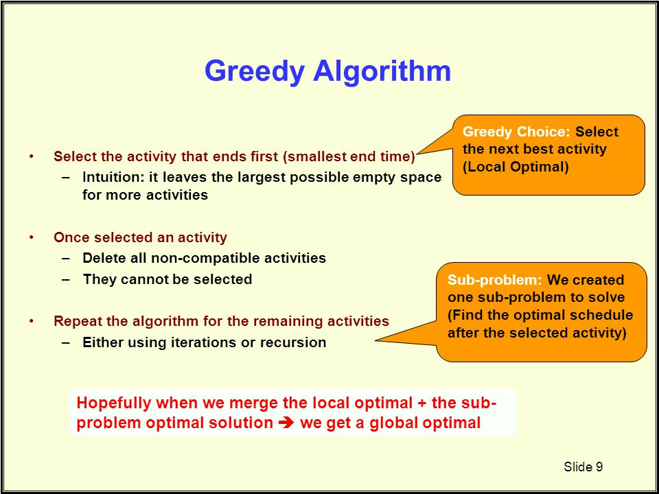 Greedy Algorithm Select the activity that ends first (smallest end time) –Intuition: it leaves the largest possible empty space for more activities On