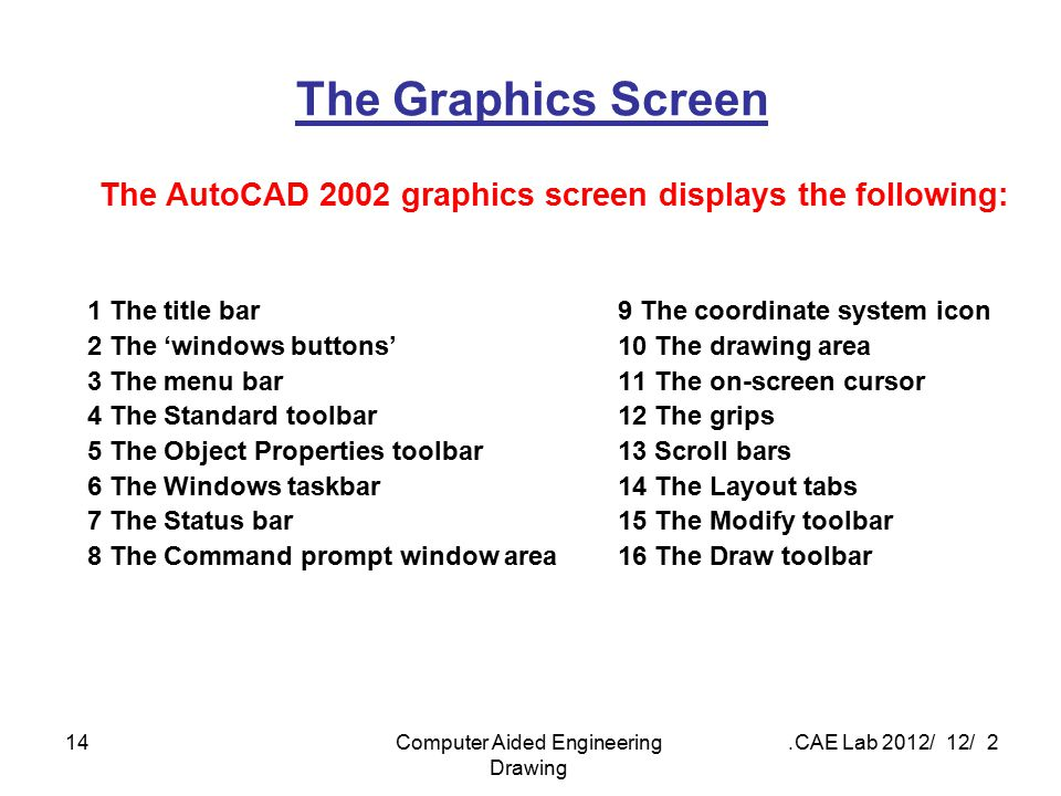 2 / 12 / 2012 CAE Lab.Computer Aided Engineering Drawing 14 The Graphics Screen The AutoCAD 2002 graphics screen displays the following: 1 The title b