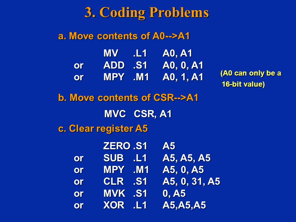 3. Coding Problems a. Move contents of A0-->A1 a.