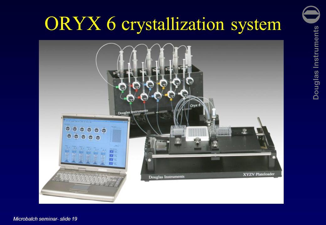 Douglas Instruments Microbatch seminar- slide 19 ORYX 6 c rystallization system