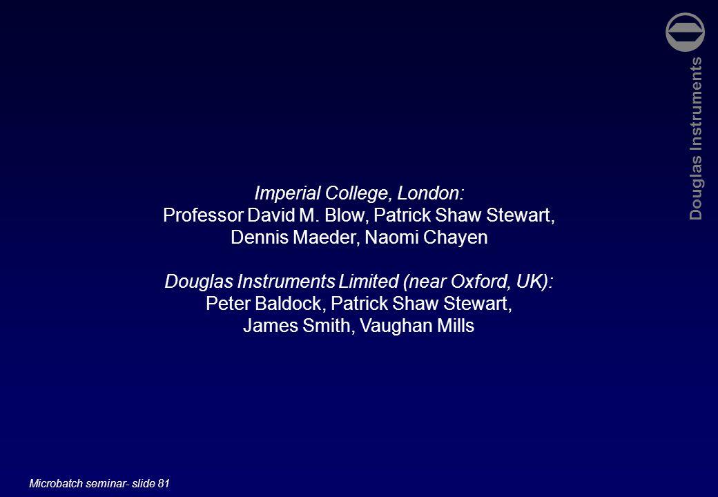 Douglas Instruments Microbatch seminar- slide 81 Imperial College, London: Professor David M. Blow, Patrick Shaw Stewart, Dennis Maeder, Naomi Chayen
