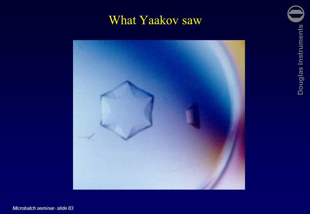 Douglas Instruments Microbatch seminar- slide 83 What Yaakov saw