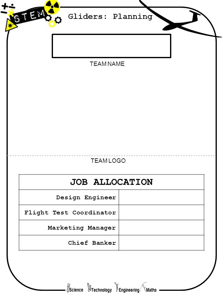 TEAM NAME TEAM LOGO JOB ALLOCATION Design Engineer Flight Test Coordinator Marketing Manager Chief Banker Gliders: Planning