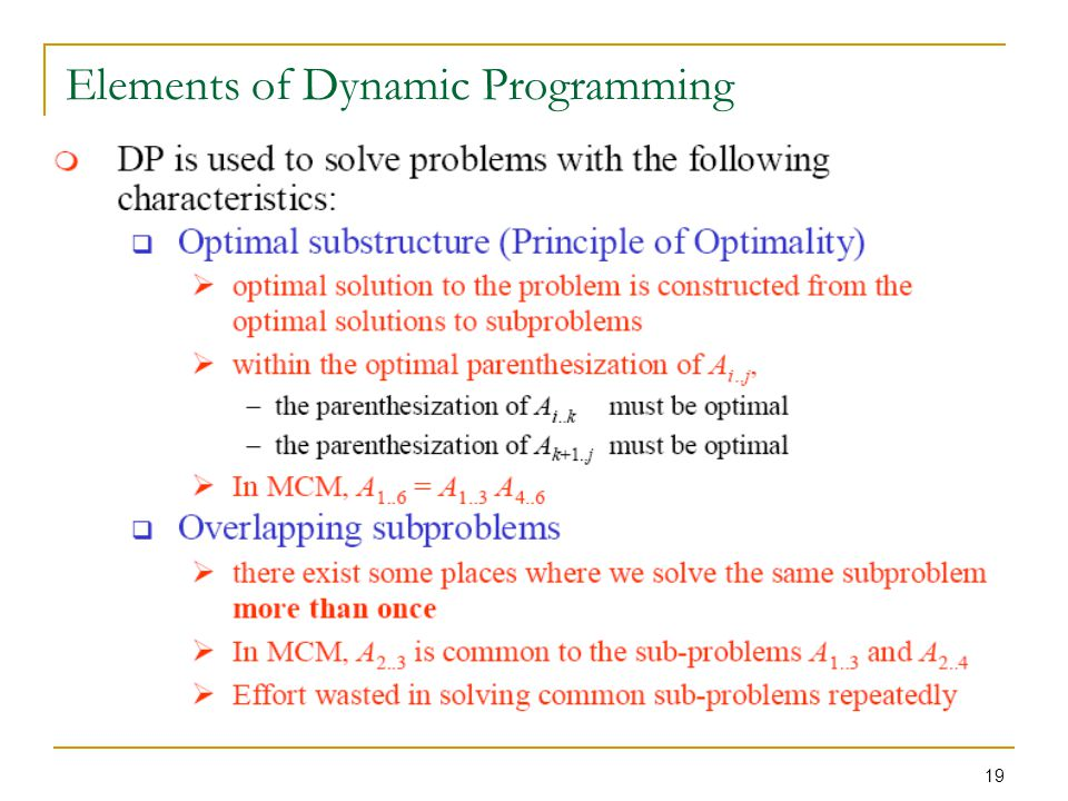 19 Elements of Dynamic Programming
