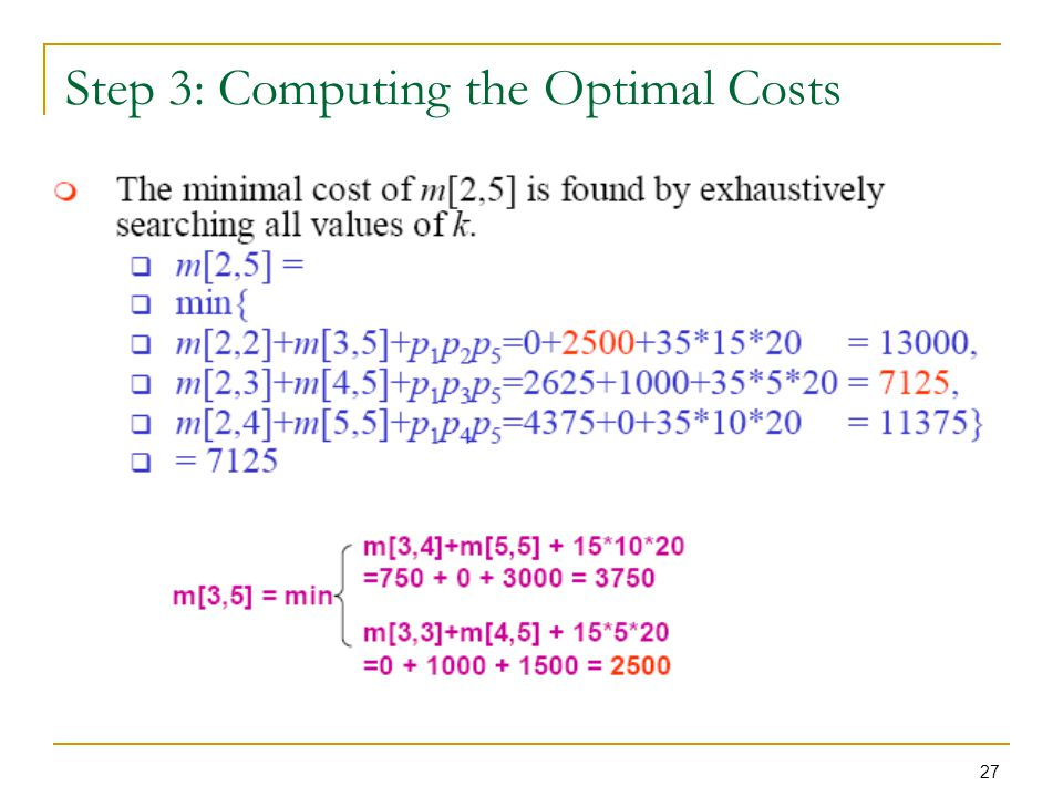 27 Step 3: Computing the Optimal Costs