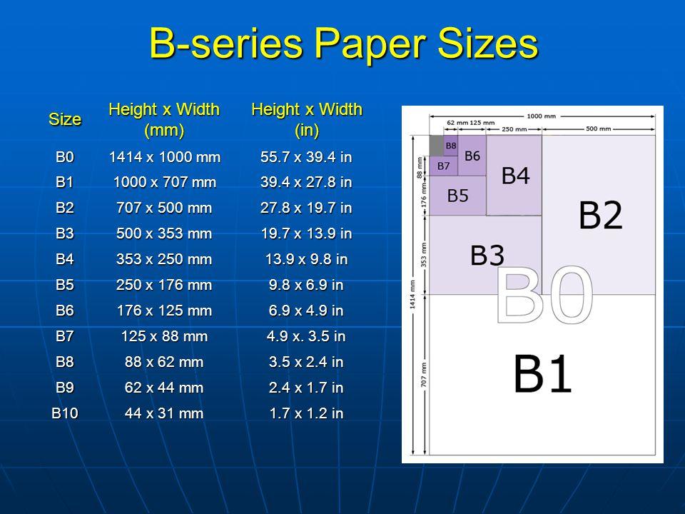Size Height x Width (mm) Height x Width (in) B0 1414 x 1000 mm 55.7 x 39.4 in B1 1000 x 707 mm 39.4 x 27.8 in B2 707 x 500 mm 27.8 x 19.7 in B3 500 x