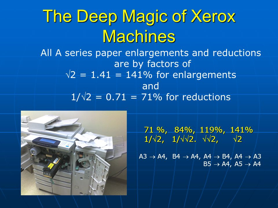 The Deep Magic of Xerox Machines All A series paper enlargements and reductions are by factors of 2 = 1.41 = 141% for enlargements and 1/2 = 0.71 =