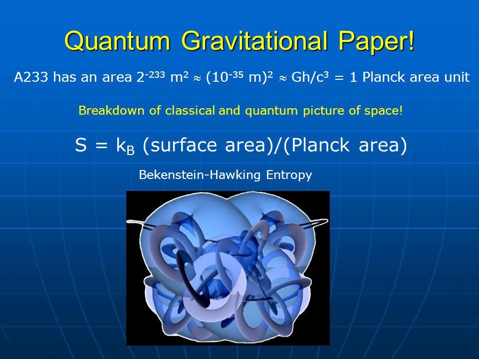 Quantum Gravitational Paper! A233 has an area 2 -233 m 2  (10 -35 m) 2  Gh/c 3 = 1 Planck area unit S = k B (surface area)/(Planck area) Bekenstein-