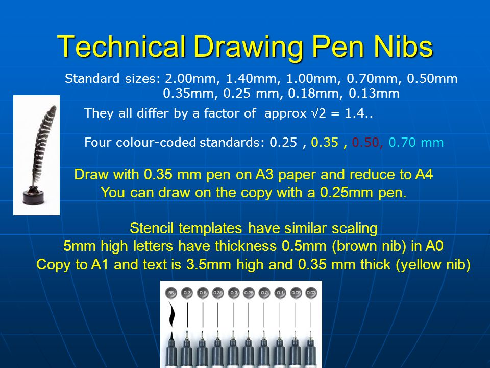 Technical Drawing Pen Nibs Standard sizes: 2.00mm, 1.40mm, 1.00mm, 0.70mm, 0.50mm 0.35mm, 0.25 mm, 0.18mm, 0.13mm They all differ by a factor of appro