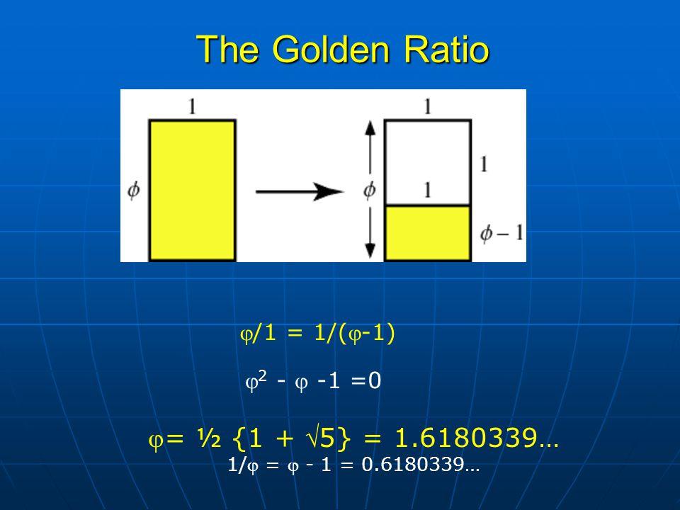  2 -  -1 =0 = ½ {1 + 5} = 1.6180339… 1/ =  - 1 = 0.6180339… The Golden Ratio /1 = 1/(-1)