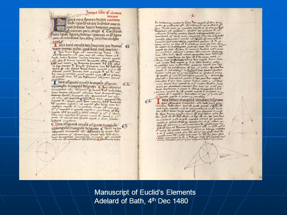 Manuscript of Euclid's Elements Adelard of Bath, 4 th Dec 1480