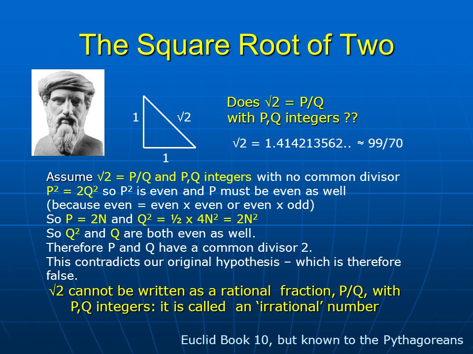 The Square Root of Two 1 1 22 Does 2 = P/Q with P,Q integers .