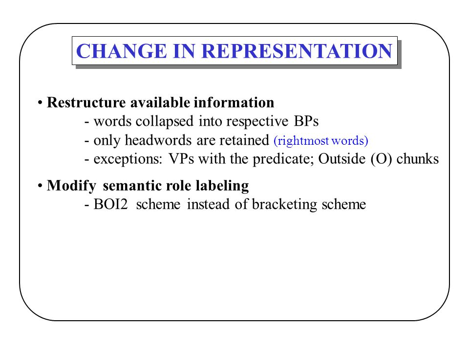 CHANGE IN REPRESENTATION Restructure available information - words collapsed into respective BPs - only headwords are retained (rightmost words) - exc