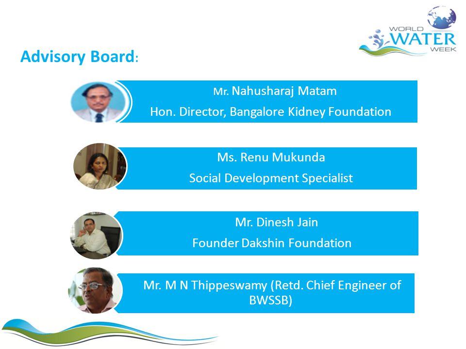 Ms. Renu Mukunda Social Development Specialist Mr. Dinesh Jain Founder Dakshin Foundation Mr. M N Thippeswamy (Retd. Chief Engineer of BWSSB) Mr. Nahu