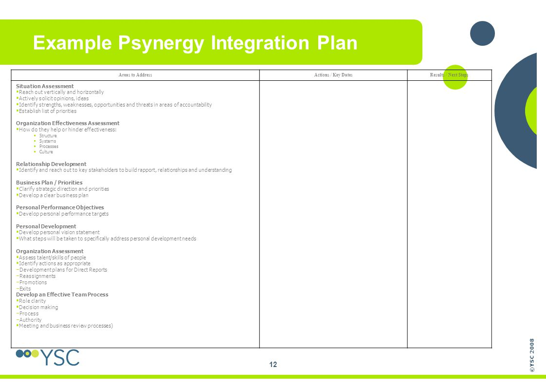 ©YSC 2008 12 Example Psynergy Integration Plan Areas to AddressActions / Key DatesResults / Next Steps Situation Assessment  Reach out vertically and