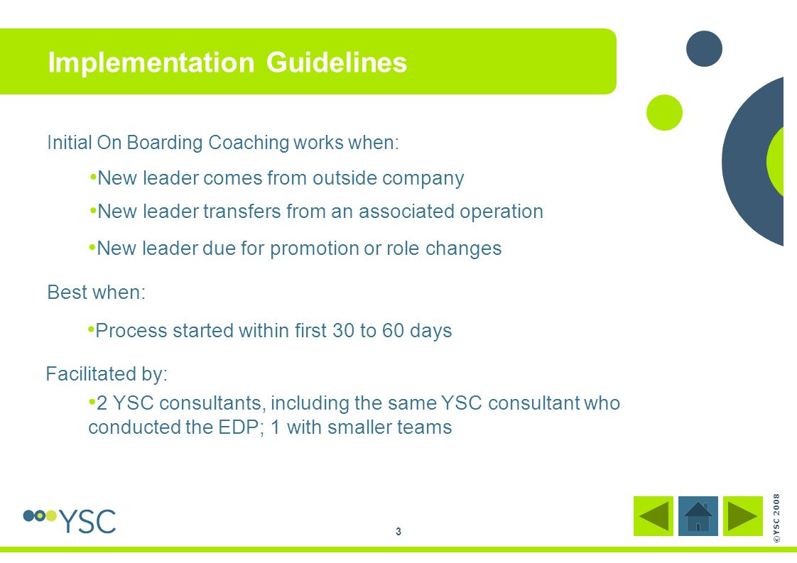 ©YSC 2008 3 Implementation Guidelines Initial On Boarding Coaching works when: New leader comes from outside company New leader transfers from an asso