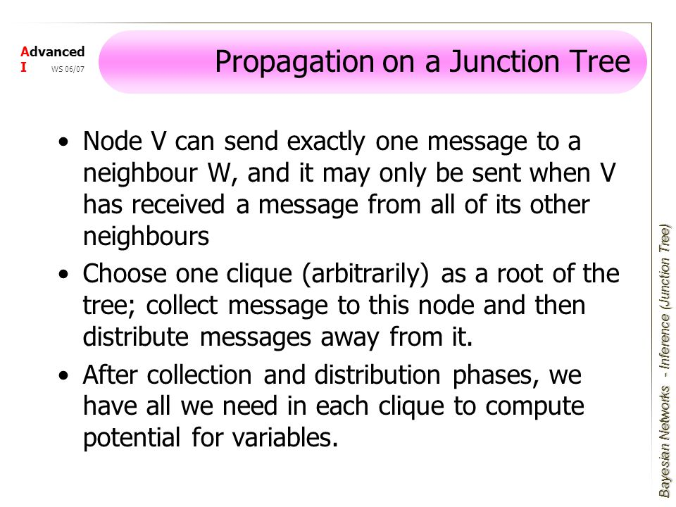 Bayesian Networks Advanced I WS 06/07 Propagation on a Junction Tree Node V can send exactly one message to a neighbour W, and it may only be sent when V has received a message from all of its other neighbours Choose one clique (arbitrarily) as a root of the tree; collect message to this node and then distribute messages away from it.