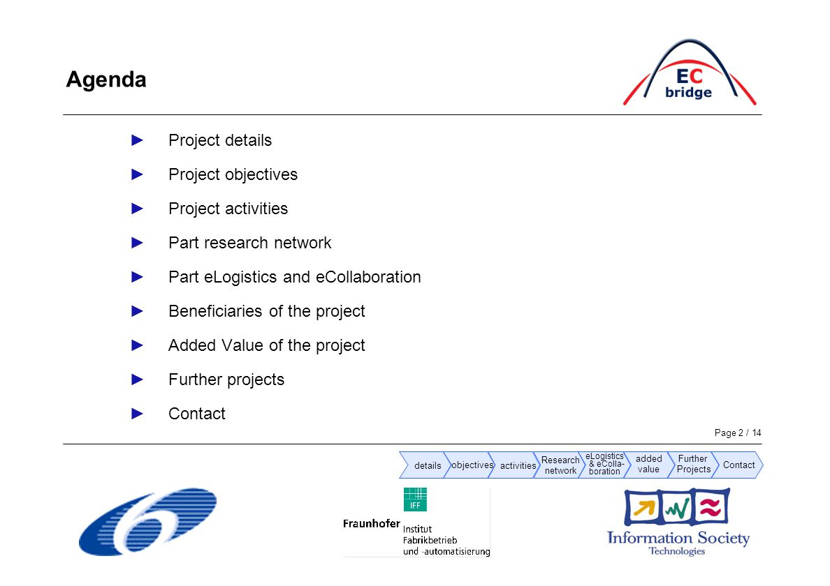 Page 2 / 14 ►Project details ►Project objectives ►Project activities ►Part research network ►Part eLogistics and eCollaboration ►Beneficiaries of the project ►Added Value of the project ►Further projects ►Contact Agenda details objectives activities added value Research network eLogistics & eColla- boration Further Projects Contact