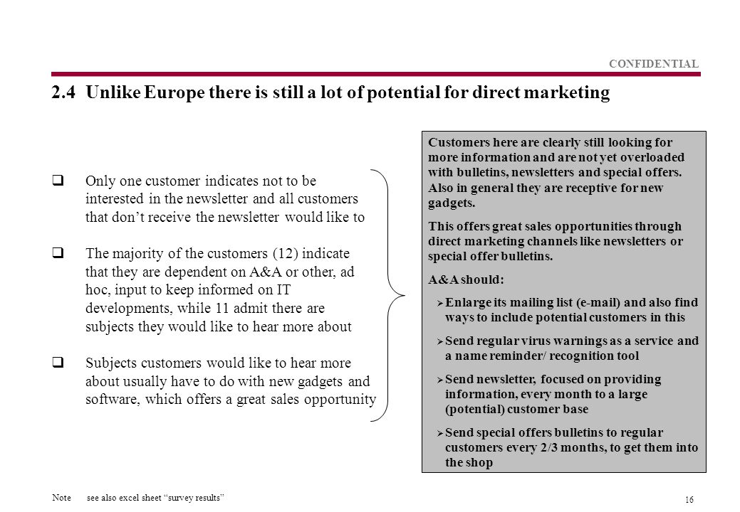 16 CONFIDENTIAL 2.4Unlike Europe there is still a lot of potential for direct marketing  Only one customer indicates not to be interested in the newsletter and all customers that don't receive the newsletter would like to  The majority of the customers (12) indicate that they are dependent on A&A or other, ad hoc, input to keep informed on IT developments, while 11 admit there are subjects they would like to hear more about  Subjects customers would like to hear more about usually have to do with new gadgets and software, which offers a great sales opportunity Customers here are clearly still looking for more information and are not yet overloaded with bulletins, newsletters and special offers.