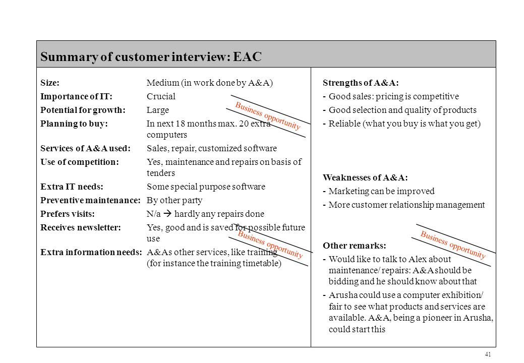 41 CONFIDENTIAL Summary of customer interview: EAC Size:Medium (in work done by A&A) Importance of IT:Crucial Potential for growth:Large Planning to buy:In next 18 months max.
