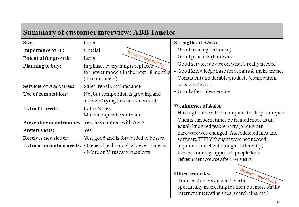 43 CONFIDENTIAL Summary of customer interview: ABB Tanelec Size:Large Importance of IT:Crucial Potential for growth:Large Planning to buy:In phases everything is replaced for newer models in the next 18 months (35 computers) Services of A&A used:Sales, repair, maintenance Use of competition:No, but competition is growing and actively trying to win the account Extra IT needs:Lotus Notes Machine specific software Preventive maintenance:Yes, has contract with A&A Prefers visits:Yes Receives newsletter:Yes, good and is forwarded to bosses Extra information needs:- General technological developments - More on Viruses/ virus alerts Business opportunity Strengths of A&A: -Good training (in house) -Good products (hardware -Good service: advice on what's really needed -Good knowledge base for repairs & maintenance -Consistent and durable products (competition sells whatever) -Good after sales service Weaknesses of A&A: -Having to take whole computer to shop for repair -Clients can sometimes be treated more as an equal/ knowledgeable party (once when hardware was changed, A&A deleted files and software THEY thought were not needed anymore, but client thought differently) -Renew training: approach people for a refreshment course after 3-4 years Other remarks: -Train customers on what can be specifically interesting for their business on the internet (interesting sites, search tips, etc.)