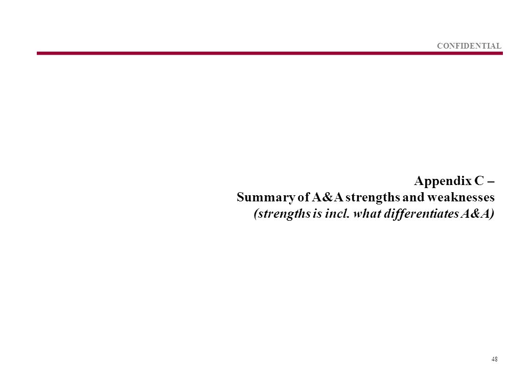 48 CONFIDENTIAL Appendix C – Summary of A&A strengths and weaknesses (strengths is incl.