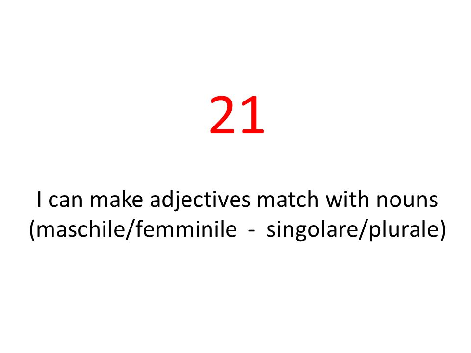 21 I can make adjectives match with nouns (maschile/femminile - singolare/plurale)