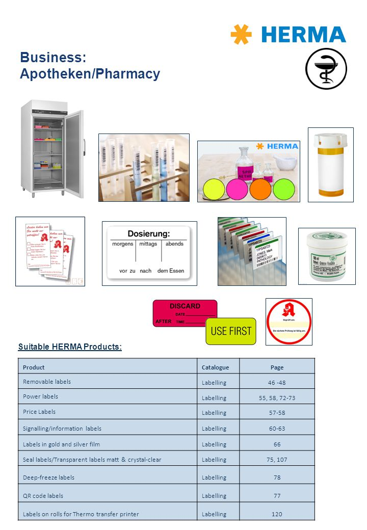 Business: Apotheken/Pharmacy Suitable HERMA Products: ProductCataloguePage Removable labels Labelling46 -48 Power labels Labelling55, 58, 72-73 Price
