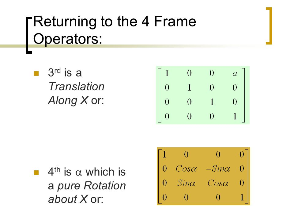 Returning to the 4 Frame Operators: 3 rd is a Translation Along X or: 4 th is  which is a pure Rotation about X or: