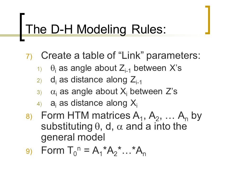 """The D-H Modeling Rules: 7) Create a table of """"Link"""" parameters: 1)  i as angle about Z i-1 between X's 2) d i as distance along Z i-1 3)  i as angle"""