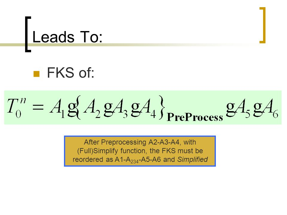 Leads To: FKS of: After Preprocessing A2-A3-A4, with (Full)Simplify function, the FKS must be reordered as A1-A 234 -A5-A6 and Simplified